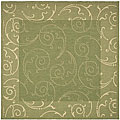 Indoor/ Outdoor Oasis Olive/ Natural Rug (7'10 Square)