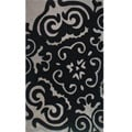 Hand-tufted Metro Medallion Black Wool Rug (8&#39; x 10&#39;)