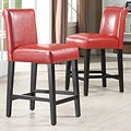 ETHAN HOME Bennett 24 inches Red Faux Leather Barstools (Set of 2)
