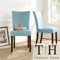 Tribecca Home Estonia Sky Blue Upholstered Dining Chairs (Set of 2)