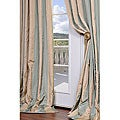 Signature Stripe Beige/Sea Foam Green Faux Silk Taffeta 84-inch Curtain Panel