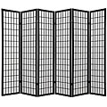 Oriental Shoji 6-panel Black Room Divider Screen
