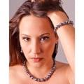 Silver Glass Pearl and Rhinestone Jewelry Set