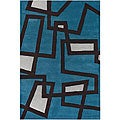 Hand-Tufted Mandara Geometric-Print Blue Wool Rug (7'9
