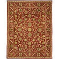 Handmade Heirloom Red Wool Rug (6' x 9')