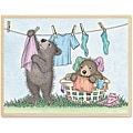 Gruffies Laundry Line Wood-mounted Rubber Stamp