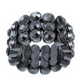 Celeste Gunmetal Black Crystal 3-row Stretch Fashion Ring