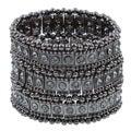 Celeste Gunmetal Black Crystal 3-row Stretch Fashion Bracelet