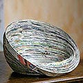 Recycled Paper &#39;Abstract News&#39; Decorative Bowl (Guatemala)