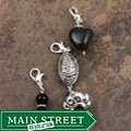 JonCar Fashion-forward Black and Silver Charms (Set of 3)