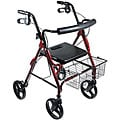 Drive D-Lite Red Aluminum with 8-inch Wheel Rollator Walker