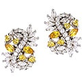 Collette Z Sterling Silver White and Yellow Cubic Zirconia Cluster Earrings