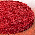 Hand-woven Bliss Rusty Red Shag Rug (4' Round)