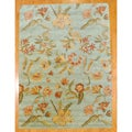 Indo Tibetan Hand-tufted Teal / Yellow Wool Rug (8 x 11)
