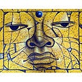'Cracked Buddha Face' Original Canvas Art (Indonesia)