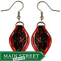 Murano Inspired Glass Red Twisted Leaf Earrings