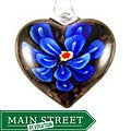 Murano Inspired Glass Blue Flower Heart Pendant