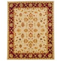 Hand-tufted Indo Beige/ Red Wool Rug (8' x 10')