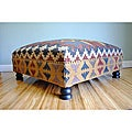 Handmade Kilim Dark Sheesham Wooden Leg Square Ottoman (India)