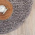 Hand-woven Bliss Grey Shag Rug (4&#39; Round)