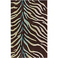 Hand-tufted Brown/Blue Zebra Animal Print Retro Chic Rug (8&#39; x 11&#39;)