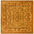 Handmade Antiquities Kasadan Olive Green Wool Rug (8' Square)