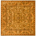 Handmade Antique Kasadan Olive Green Wool Rug (8' Square)