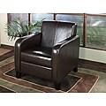 Bicast Leather Dark Brown Club Chair
