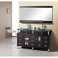 Lynette 59-inch Espresso Double-sink Bathroom Vanity with Mirror