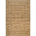Loomed Free Form Tan Border Rug (5'3 x 7'6)