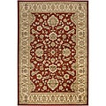 Loomed Free Form Red Border Rug (5'3 x 7'6)