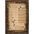Loomed Free Form Chocolate Floral Rug (5'3 x 7'6)