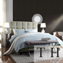 TRIBECCA HOME Sarajevo Taupe Velvet Tufted King Bed