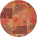 Hand-hooked Extrinsic Orange Indoor/Outdoor Botanical Rug (8&#39; Round)