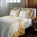 Lace Embroidered Cotton Gold 3-piece Quilt Set