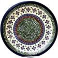 Ceramic Stoneware Blue and Orange 10.75-inch Dinner Plate (Poland)