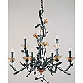 Amber Mist Blacksmith Bronze 9-light Chandelier