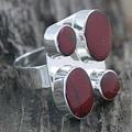 Sterling Silver Red Jasper Adjustable Ring (Mexico)