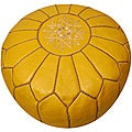Leather Mustard Pouf Ottoman (Morocco)