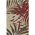 Hand-hooked Bliss Beige Indoor/Outdoor Floral Rug (2' x 3')