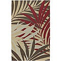 Hand-hooked Bliss Brown Indoor/Outdoor Floral Rug (2' x 3')