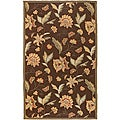 Hand-hooked Bliss Brown/ Green Floral Rug (9&#39; x 12&#39;)