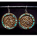 Brass and Sterling Silver Turquoise Circle Earrings (Nepal)