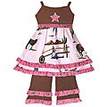 Ann Loren Girl&#39;s Cowgirl Dress and Pant Set