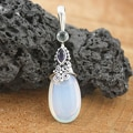 Sterling Silver Opalite, Amethyst &amp; Blue Topaz Teardrop Bali Pendant(Indonesia)