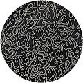 Hand-tufted Painterly Black Wool Rug (8' Round)
