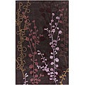 Hand-tufted Contemporary Lavish Plum Abstract Rug (8' x 11')
