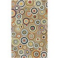 Hand-tufted Contemporary Multi Colored Circles Geometric Dazed New Zealand Wool Rug (3&#39;3 x 5&#39;3)