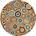 Hand-tufted Contemporary Multi Colored Circles Geometric Dazed New Zealand Wool Rug (6' Round)