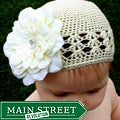 Headbandz Crochet Baby and Toddler Cream Kufi Hat with Flower